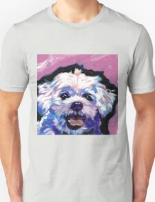 Maltese Dog Bright colorful pop dog art Unisex T-Shirt