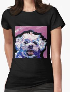 Maltese Dog Bright colorful pop dog art Womens Fitted T-Shirt