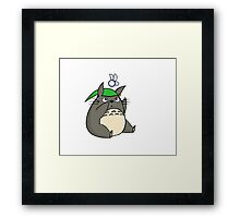 Totoro and Navy Framed Print