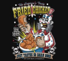 Tasty Fried Chicken- Captain Spaulding House of 1000 Corpses t-shirt design by JakGibberish