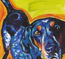 Bluetick Coonhound Dog Bright colorful pop dog art by bentnotbroken11