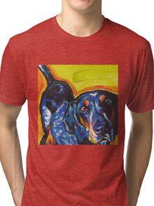 Bluetick Coonhound Dog Bright colorful pop dog art Tri-blend T-Shirt