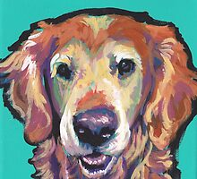 Senior Golden Retriever Dog Bright colorful pop dog art by bentnotbroken11