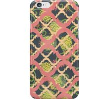 Garden Charm III:  Funky Geometric with Flowers in  Shabby Rose Pink on grey iPhone Case/Skin