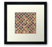 Garden Charm III:  Funky Geometric with Flowers in  Shabby Rose Pink on grey Framed Print
