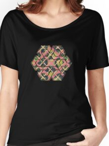 Garden Charm III:  Funky Geometric with Flowers in  Shabby Rose Pink on grey Women's Relaxed Fit T-Shirt