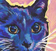 Blue Cat Bright colorful pop kitty art by bentnotbroken11