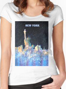 New York - Liberty and Skyline  Women's Fitted Scoop T-Shirt