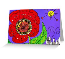 Red Flowers Grow In Mo's Garden Greeting Card