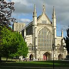 West End of Winchester Cathedral in afternoon sun, southern England by Philip Mitchell