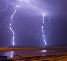 Double Strike Over Largs Bay, South Australia by Greg  Sorenson