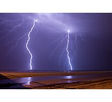 Double Strike Over Largs Bay, South Australia Photographic Print