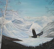 Eagle Soaring Through the Wilderness by Temagami