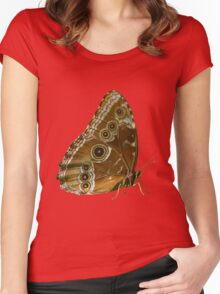 Beautiful Butterfly Wings of Meadow Brown Isolated Women's Fitted Scoop T-Shirt