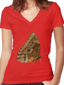 Beautiful Butterfly Wings of Meadow Brown Isolated Women's Fitted V-Neck T-Shirt