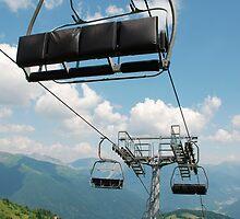 Ski Lift on Monte Zoncolan in Summer by jojobob