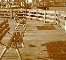 Benches on the Pier (shadows in sepia) by dreamNwish