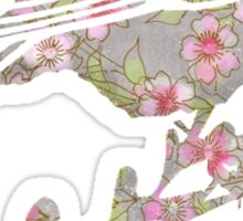 Watercolor Cherry Blossoms on Grey Wash Sticker