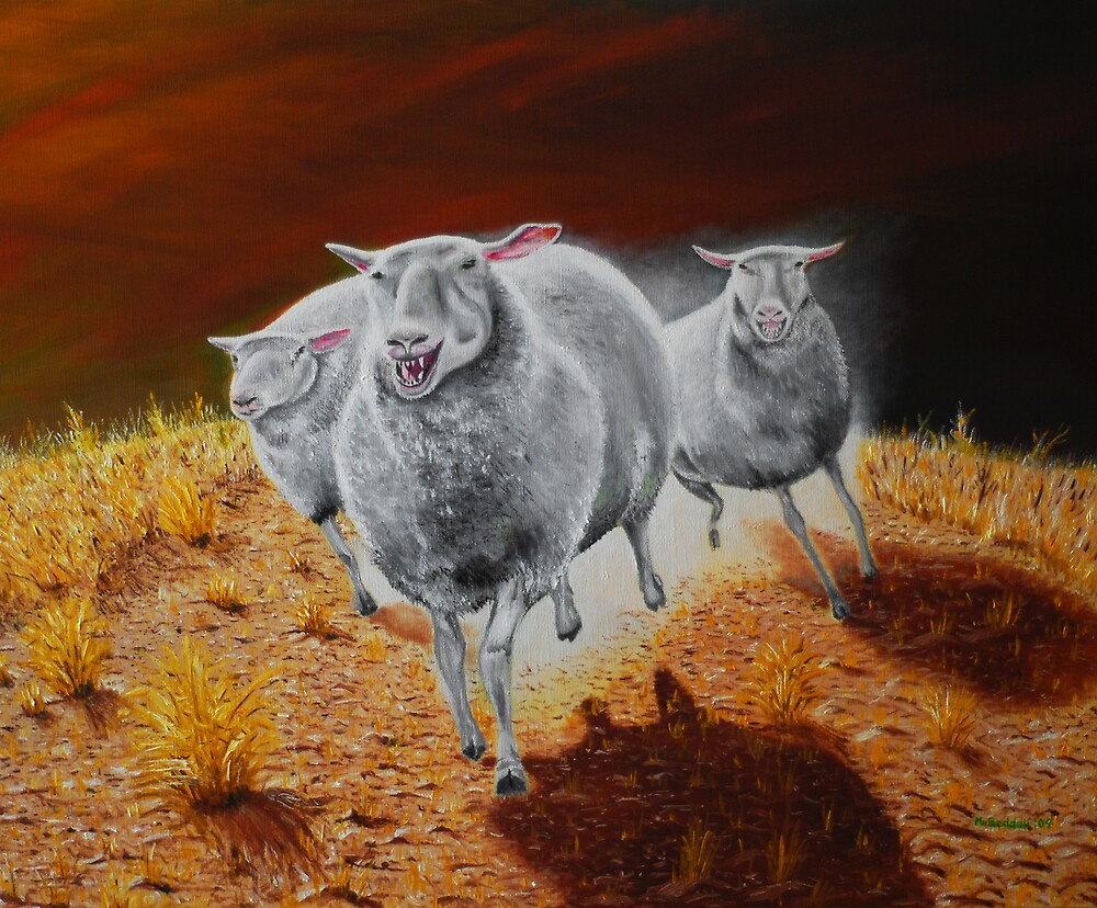 Sheep on the Hunt by Michael Beddall