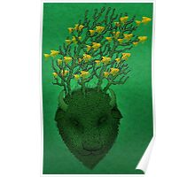 Sea Buffalo Dreaming Green Heart  Poster