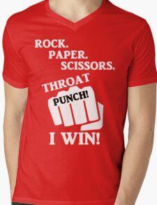 Rock, Paper, Scissors, Throat Punch! I win! Mens V-Neck T-Shirt