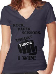 Rock, Paper, Scissors, Throat Punch! I win! Women's Fitted V-Neck T-Shirt