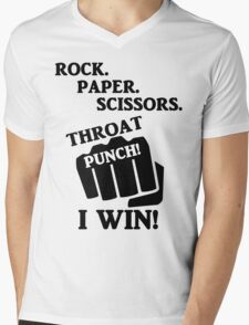 Rock, Paper, Scissors, Throat Punch! I win! Mens V-Neck T-Shirt