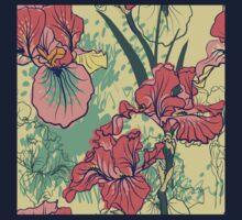 SeaSeamless pattern with decorative  iris flower in retro colors. mless pattern with decorative  iris flower in retro colors.  Kids Clothes