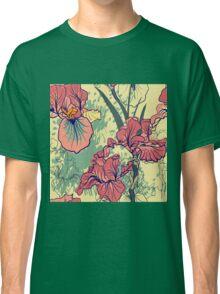 SeaSeamless pattern with decorative  iris flower in retro colors. mless pattern with decorative  iris flower in retro colors.  Classic T-Shirt