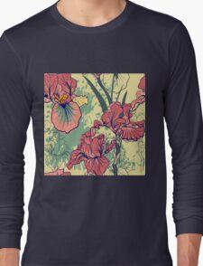 SeaSeamless pattern with decorative  iris flower in retro colors. mless pattern with decorative  iris flower in retro colors.  Long Sleeve T-Shirt
