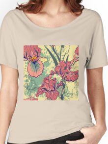 SeaSeamless pattern with decorative  iris flower in retro colors. mless pattern with decorative  iris flower in retro colors.  Women's Relaxed Fit T-Shirt
