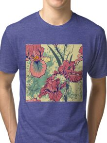 SeaSeamless pattern with decorative  iris flower in retro colors. mless pattern with decorative  iris flower in retro colors.  Tri-blend T-Shirt