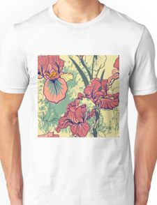SeaSeamless pattern with decorative  iris flower in retro colors. mless pattern with decorative  iris flower in retro colors.  Unisex T-Shirt
