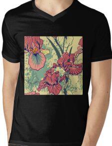 SeaSeamless pattern with decorative  iris flower in retro colors. mless pattern with decorative  iris flower in retro colors.  Mens V-Neck T-Shirt