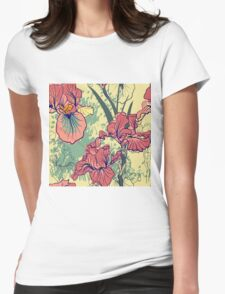 SeaSeamless pattern with decorative  iris flower in retro colors. mless pattern with decorative  iris flower in retro colors.  Womens Fitted T-Shirt