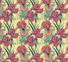 SeaSeamless pattern with decorative  iris flower in retro colors. mless pattern with decorative  iris flower in retro colors.  by OlgaBerlet