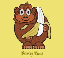 Party Time Chimp and Banana T-shirt by Dennis Melling