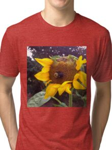 Bumble Bee on Half Eaten Sunflower Tri-blend T-Shirt