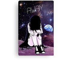Anime Sad girl gone away on the Moon Canvas Print