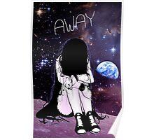 Anime Sad girl gone away on the Moon Poster