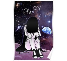 Anime Sad girl gone away on the Moon Poster