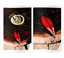 Red leaf diptych Poster