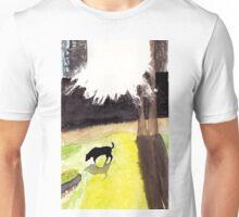 Black dog in morning light Unisex T-Shirt