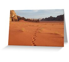 Footprints, Wadi Rum, Jordan Greeting Card