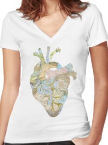 A Traveler's Heart (N.T.) Women's Fitted V-Neck T-Shirt