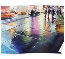 """Neon Rain"" New York Watercolor Poster"