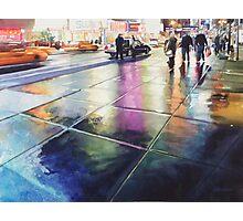 """Neon Rain"" New York Watercolor Photographic Print"