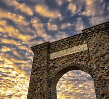 The Roosevelt Arch of Yellowstone National Park at Sunrise by DArthurBrown