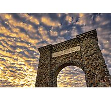 The Roosevelt Arch of Yellowstone National Park at Sunrise Photographic Print
