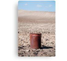 Rusty Bucket on Soil Canvas Print